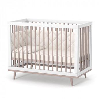 Кроватка Верес ЛД2 Нью-Йорк без колес, на ножках 2.1.1.33.13, капучино / белый, белый / беж
