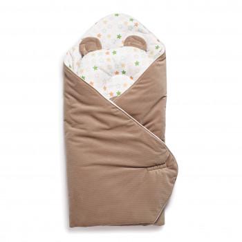 Набор конверт-плед с подушкой Twins Bear 9064-TB-201, caramel, латте