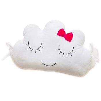 Бампер - подушка Twins Cloud 7099-DC-08 white / raspberry, белый / малиновый