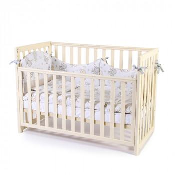 Кроватка Верес ЛД13 без колес без ящика съемная спица 13.1.1.20.04, слоновая кость, бежевый