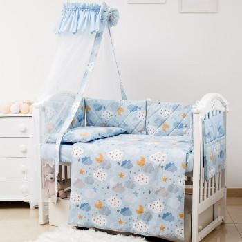 Постельный комплект 8 эл Twins Premium Glamour 4029-TGС-04 Clouds blue, голубой