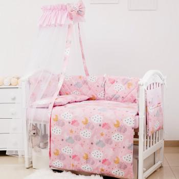 Постельный комплект 8 эл Twins Premium Glamour 4029-TGС-08 Clouds pink, розовый