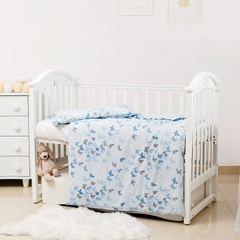 Сменная постель 3 эл Twins Romantic Spring collection 3024-RS-04 Butterfly blue, голубой