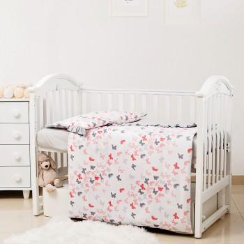 Сменная постель 3 эл Twins Romantic Spring collection 3024-RS-101, Butterfly coral, коралловый / серый