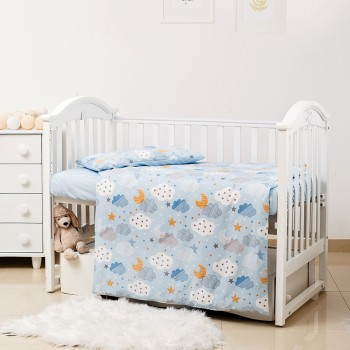 Сменная постель 3 эл Twins Premium Glamour Limited 3064-PGNEWC-04 Clouds blue, голубой