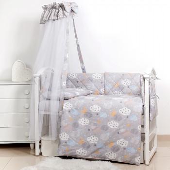 Постельный комплект 8 эл Twins Premium Glamour 4029-TGС-101, Clouds grey, серый
