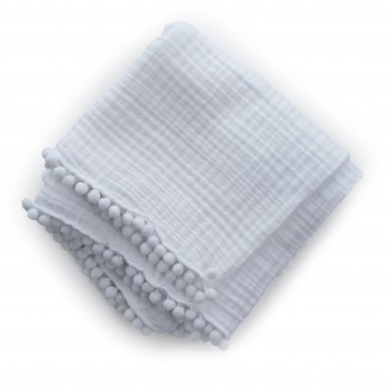 Плед Twins муслиновый 80х80 4-х слойный с помпонами 1610-PM-00-80х80-01, white, белый