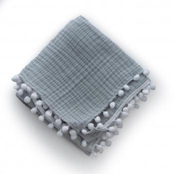 Плед Twins муслиновый 80х80 4-х слойный с помпонами 1610-PM-00-80х80-10, grey, серый