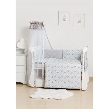 Постельный комплект 8 эл Twins Premium Glamour 4029-TG-10G, Polka Dots / Горохи grey, белый / серый