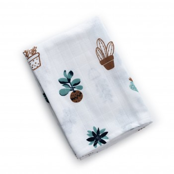 Плед Twins муслиновый 110х75 / цвета в ассортименте / 1410-110 / 75-F, Цветы, белый / синий