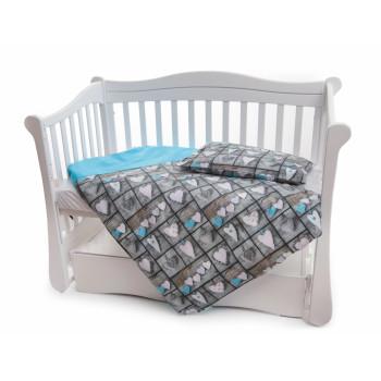 Сменная постель 2 эл Twins Premium 3027-P-066, Сердечки декор голубой, бирюза