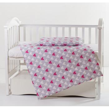 Сменная постель 2 эл Twins Premium 3027-P-067, Сердечки розово-серые, розовый