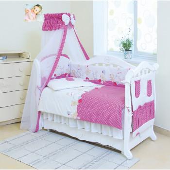 Постельный комплект 8 эл Twins Standard Basic 4050-CB-019, Горошки розовые, розовый