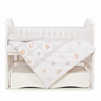 Сменная постель 3 эл Twins Eco Line 3090-E-020, Animals beige, белый/беж