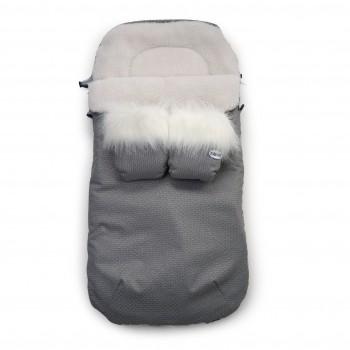 Конверт к санкам Twins Silver с рукавицами 9012-SNA-21 + 10 silver grey, серый