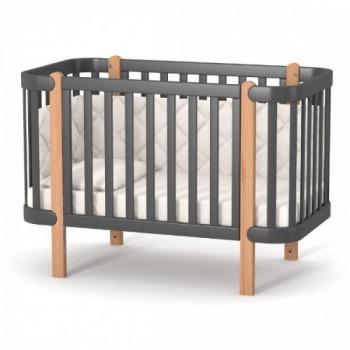 Кроватка Верес ЛД5 Монако без колес без ящика 05.3.1.21.16, темно-серый, черный/буковый