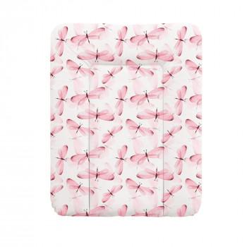 Пеленальный матрас Cebababy 50x70 Flora & Fauna W-143-099-543, Libelula, розовый
