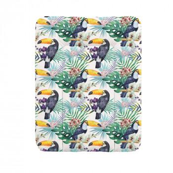 Пеленальный матрас Cebababy 50x70 Flora & Fauna W-143-099-544, Tucan, белый / зеленый