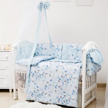 Постельный комплект 8 эл Twins Romantic Spring collection 4024-TR-04 Butterfly blue, голубой