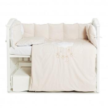 Постельный комплект 6 эл Babycentre & Twins Moonlight 4011-BTMO-02 beige, белый / беж