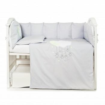 Постельный комплект 6 эл Babycentre & Twins Moonlight 4011-BTMO-10 grey, белый / серый