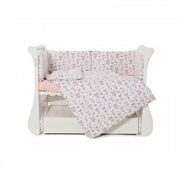 Бампер Twins Comfort line 2054-C-060, Балеринки, белый / розовый