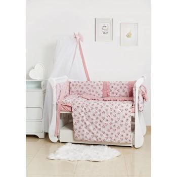 Постельный комплект 8 эл Twins Romantic Spring collection 4024-TR-08, Flower, розовый дым