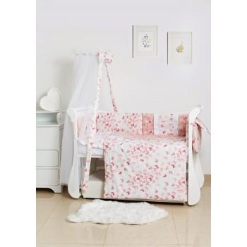 Постельный комплект 8 эл Twins Romantic Spring collection 4024-TR-24, Butterfly pink, розовый