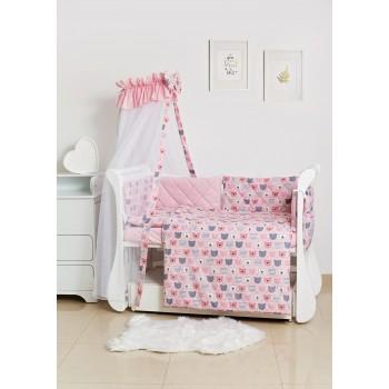 Постельный комплект 8 эл Twins Premium Glamour 4029-TG-08B, bear pink, розовый