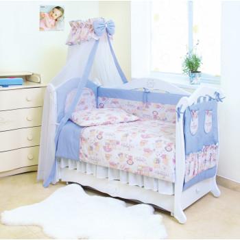 Постельный комплект 8 эл Twins Standard Basic 4050-CB-015, Пушистые мишки голубые, голубой