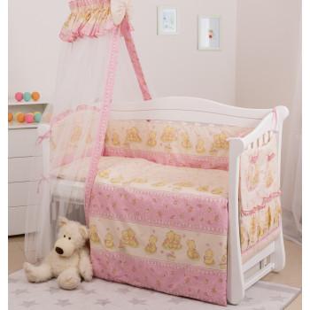 Постельный комплект 8 эл Twins Standard Basic 4050-CB-016, Мишки со звездой розовые, розовый