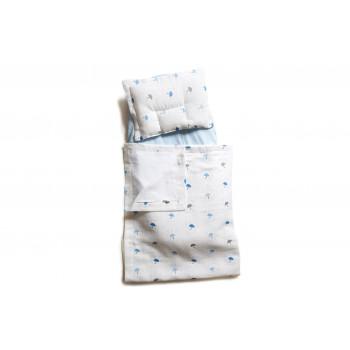 Набор в коляску Twins муслиновый (плед, подушка, наматрасник на рез) 1499-TM-20-U04, Umbrella blue, белый / голубой