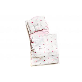 Набор в коляску Twins муслиновый (плед, подушка, наматрасник на рез) 1499-TM-20-U08, Umbrella pink, белый / розовый