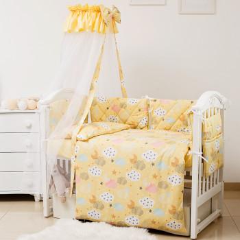 Постельный комплект 8 эл Twins Premium Glamour 4029-TGС-05 Clouds yellow, желтый
