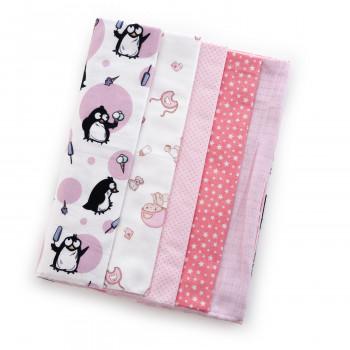 Набор пеленок Twins 5 шт (2 фланель, 2 ситец, 1 тетра) 1599-TMIX-08 pink, розовый