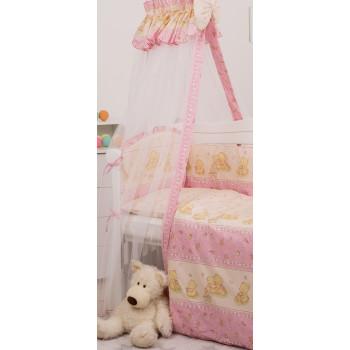 Балдахин Twins Comfort New 1051-C-116, Мишки со звездой розовые, розовый