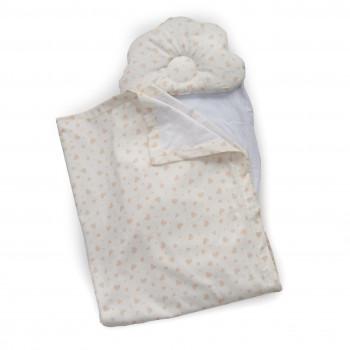 Набор в коляску Twins 100% хлопок (плед, подушка орт, прост) 1499-TMХБ-01 White, белый