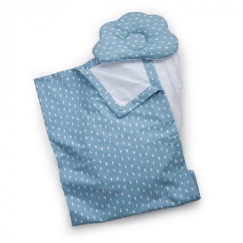 Набор в коляску Twins 100% хлопок (плед, подушка орт, прост) 1499-TMХБ-09 blue, синий