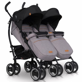 Коляска для двойни EasyGo Comfort Duo 2019 grey fox, серый