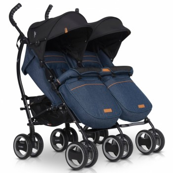 Коляска для двойни EasyGo Comfort Duo 2019 denim, джинсовый