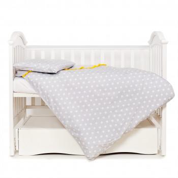 Сменная постель 3 эл Twins Premium Glamour 3028-PG-006, серый / желтый, серый / желтый