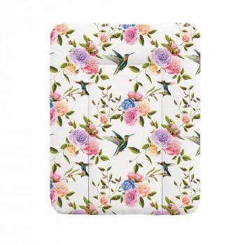 Пеленальный матрас Cebababy 50x70 Flora & Fauna W-143-099-546, Flores, белый / розовый