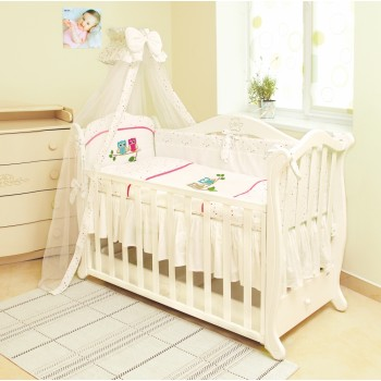 Постельный комплект 7 эл Twins Evo Совы 4073-A-020, pink, белый / розовый