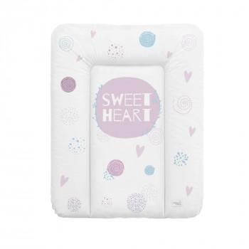 Пеленальный матрас Cebababy 50x70 Lolly Polly W-143-120-620, Love 2, белый / розовый