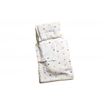 Набор в коляску Twins муслиновый (плед, подушка, наматрасник на рез) 1499-TM-20-U05, Umbrella yellow, желтый