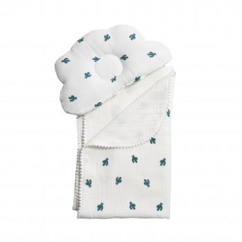 Плед и подушка ортопедическая Twins муслин маршмеллоу 110х80 1411-TMPO-01, white/кактусы, белый