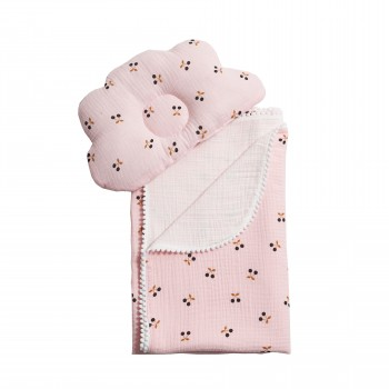 Плед и подушка ортопедическая Twins муслин маршмеллоу  110х80 1411-TMPO-08, pink, розовый