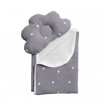 Плед и подушка ортопедическая Twins муслин маршмеллоу  110х80 1411-TMPO-10, grey, серый